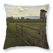 Rural Birdhouse On Fence Throw Pillow
