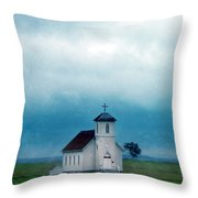 Rural Church With Stormy Sky Throw Pillow
