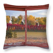 Rural Country Autumn Scenic Window View Throw Pillow