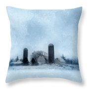 Rural Farm In Winter Throw Pillow