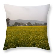 Rural Landscape With A Field Of Mustard Throw Pillow
