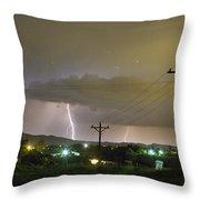 Rural Lightning Striking Throw Pillow
