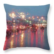 Rush Hour In The Rain Throw Pillow