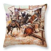 Russell Cowboy Art, 1909 Throw Pillow