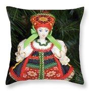 Russian Folk Ornament Throw Pillow