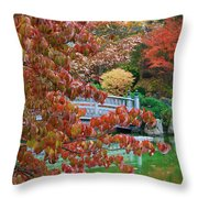 Rust Colored Leaves Over Autumn Pond Throw Pillow