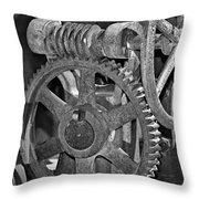 Rust Gears And Wheels Black And White Throw Pillow