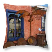 Rust Red And Blue View Throw Pillow