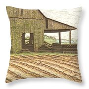 Rustic Barn And Field Rows Throw Pillow