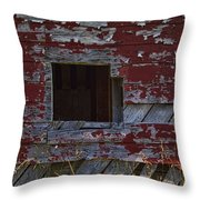 Rustic Barn Red Peeling Paint Throw Pillow