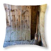 Rustic Door And Broom Throw Pillow
