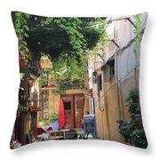 Rustic Greek Cafe Throw Pillow