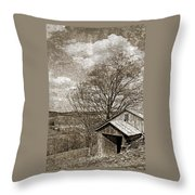 Rustic Hillside Barn Throw Pillow