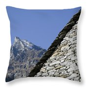 Rustic House And Mountain Throw Pillow