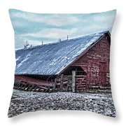 Rustic Red Winter Barn Throw Pillow