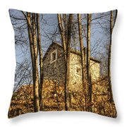 Rustic Stone House Throw Pillow