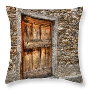 Rustic Stone House With Old Throw Pillow
