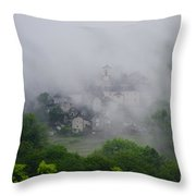 Rustic Village In The Fog Throw Pillow