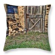 Rustic Wooden Door In Stone Barn Throw Pillow