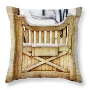 Rustic Wooden Gate In Snow Throw Pillow