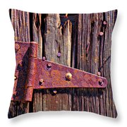 Rusty Barn Door Hinge  Throw Pillow
