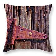 Rusty Barn Door Hinge  Throw Pillow by Garry Gay
