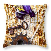 Rusty Key And Gear Throw Pillow