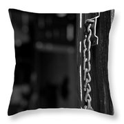 Rusty Lock - Black And White Throw Pillow