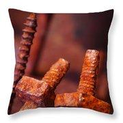 Rusty Screws Throw Pillow