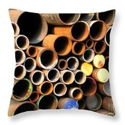 Rusty Steel Pipes Throw Pillow