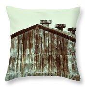 Rusty Tin Factory Building Throw Pillow