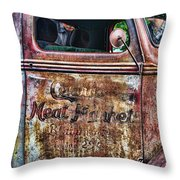 Rusty Truck Door Throw Pillow