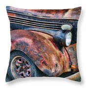 Rusty Truck Hood And Fender Throw Pillow