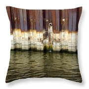 Rusty Wall By The River Throw Pillow
