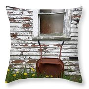 Rusty Wheelbarrow And Wildflowers Throw Pillow