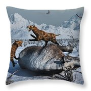 Sabre-toothed Tigers Battle Throw Pillow