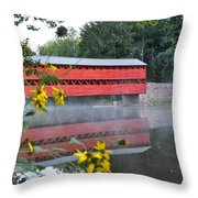 Sachs Covered Bridge At Gettysburg Throw Pillow