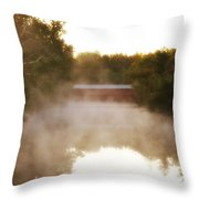 Sachs Covered Bridge In The Mist Throw Pillow