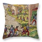 Sack Of Cartagena, C1544 Throw Pillow