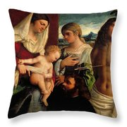 Sacra Conversatione With Ss Catherine Sebastian And Holy Family Throw Pillow