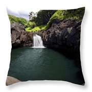 Sacred Pool And Waterfall Throw Pillow