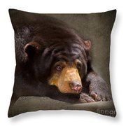 Sad Sun Bear Throw Pillow
