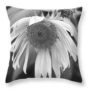 Sad Sunflower Black And White Throw Pillow