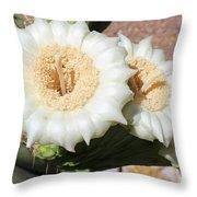 Saguaro Cactus Flowers Throw Pillow