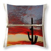 Saguaro Sunset Picture Window View Throw Pillow