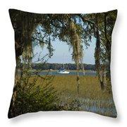 Sailboat And Moss Throw Pillow