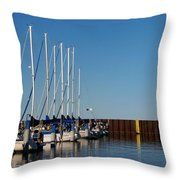 Sailboat Docking By Break Water Wall Throw Pillow