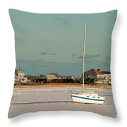 Sailboat In Frozen Hyannis Harbor On Cape Cod In Winter Throw Pillow