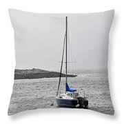 Sailboat In Maine Fog Throw Pillow
