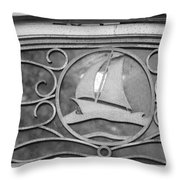 Sailboat On The Boathouse Throw Pillow